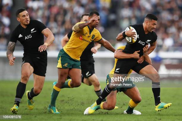 Richie Mo'unga of the All Blacks makes a break during the Bledisloe Cup test match between the New Zealand All Blacks and Australian Wallabies at...