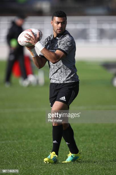 Richie Mo'unga of the All Blacks passes for a New Zealand All Blacks training session at Auckland Blues HQ on May 22 2018 in Auckland New Zealand