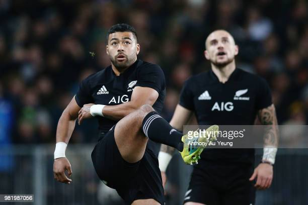 Richie Mo'unga of the All Blacks puts the ball to touch during the International Test match between the New Zealand All Blacks and France at Forsyth...