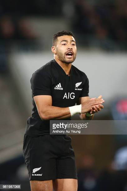Richie Mo'unga of the All Blacks reacts during the International Test match between the New Zealand All Blacks and France at Forsyth Barr Stadium on...