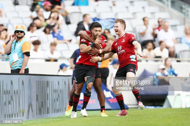 Richie Mo'unga of the Crusaders celebrates after scoring a try during the round four Super Rugby Aotearoa match between the Blues and the Crusaders...