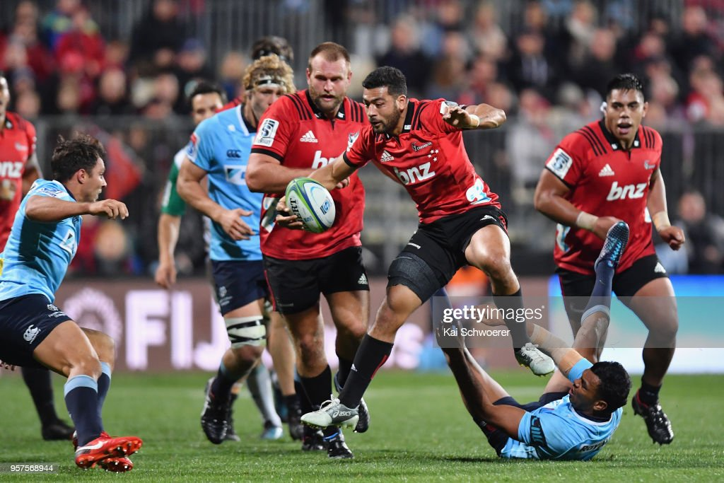 Richie Mo'unga of the Crusaders charges forward during the round 12 Super Rugby match between the Crusaders and the Waratahs at AMI Stadium on May 12, 2018 in Christchurch, New Zealand.