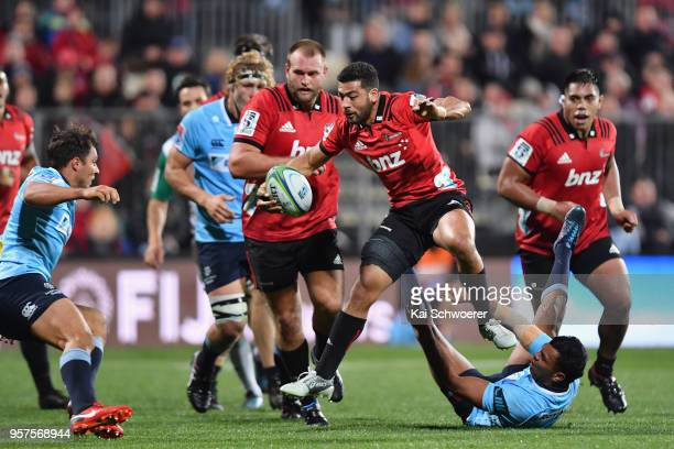 Richie Mo'unga of the Crusaders charges forward during the round 12 Super Rugby match between the Crusaders and the Waratahs at AMI Stadium on May 12...