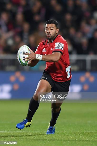 Richie Mo'unga of the Crusaders charges forward during the round 9 Super Rugby match between the Crusaders and Highlanders at Christchurch Stadium on...