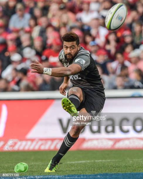 Richie Moâunga of the Crusaders during the Super Rugby Final match between Emirates Lions and Crusaders at Emirates Airline Park on August 05 2017 in...