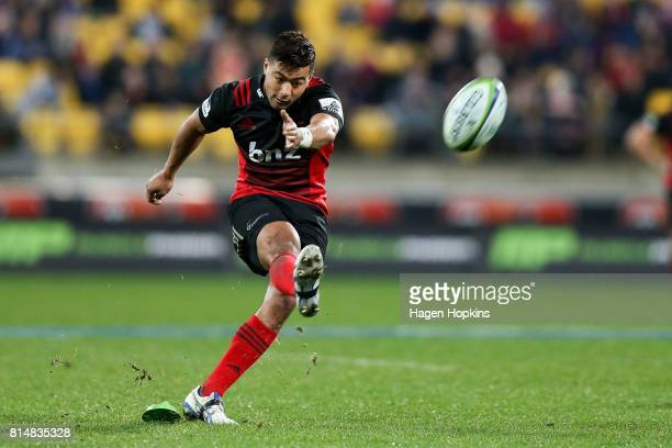 Richie Mo'unga of the Crusaders kicks during the round 17 Super Rugby match between the Hurricanes and the Crusaders at Westpac Stadium on July 15...