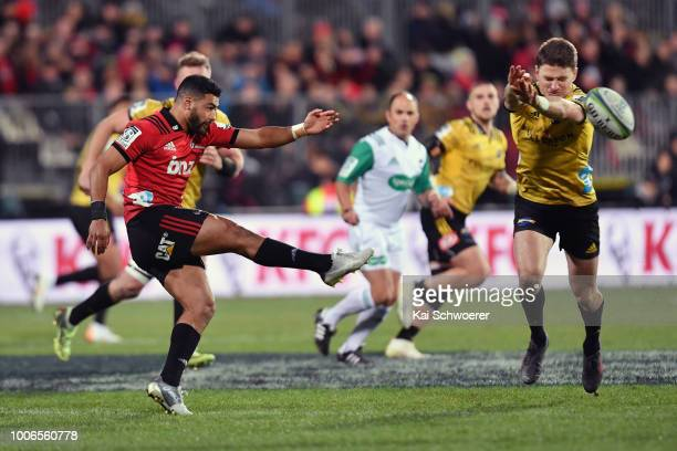 Richie Mo'unga of the Crusaders kicks the ball during the Super Rugby Semi Final match between the Crusaders and the Hurricanes at AMI Stadium on...