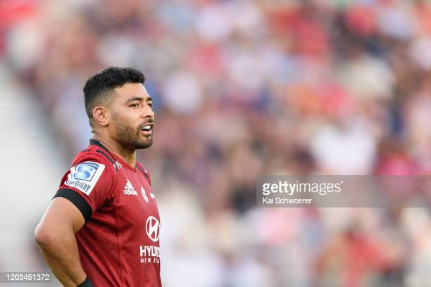 Richie Mo'unga of the Crusaders looks on during the Round 1 Super Rugby match between the Crusaders and the Waratahs at Trafalgar Park on February 01...