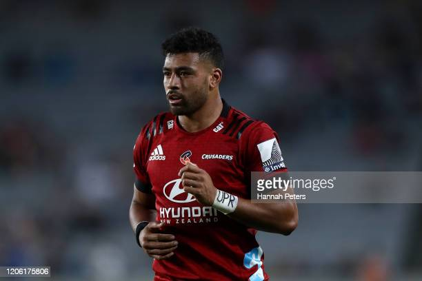Richie Mo'unga of the Crusaders looks on during the round 3 Super Rugby match between the Blues and the Crusaders at Eden Park on February 14, 2020...