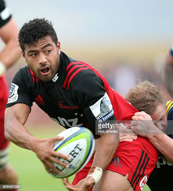 Richie Mounga of the Crusaders looks to offload the ball during the Super Rugby trial match between the Highlanders and the Crusaders at Fred Booth...