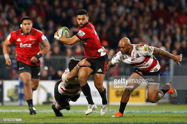 Richie Mo'unga of the Crusaders makes a break during the Super Rugby Final match between the Crusaders and the Lions at AMI Stadium on August 4 2018...