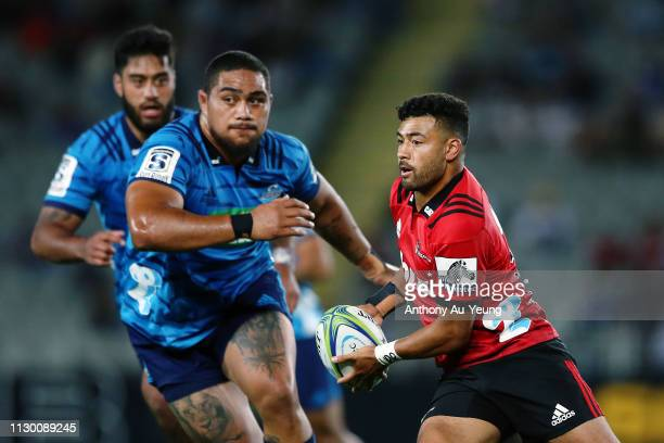 Richie Mo'unga of the Crusaders makes a run during the round 1 Super Rugby match between the Blues and the Crusaders at Eden Park on February 16 2019...