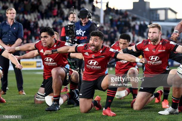 Richie Mo'unga of the Crusaders performs a haka after winning the round 9 Super Rugby Aotearoa match between the Crusaders and the Highlanders at...