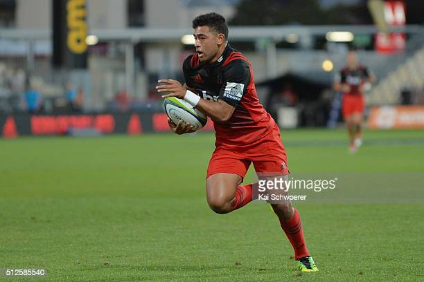 Richie Mounga of the Crusaders runs through to score a try during the round one Super Rugby match between the Crusaders and the Chiefs at AMI Stadium...