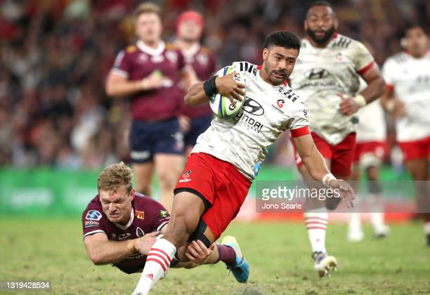 Richie Mo'unga of the Crusaders scores a try during the round two Super Rugby Trans-Tasman match between the Queensland Reds and the Crusaders at...