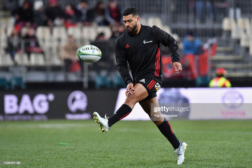 Richie Mo'unga of the Crusaders warms up prior to the Super Rugby Semi Final match between the Crusaders and the Hurricanes at AMI Stadium on July 28, 2018 in Christchurch, New Zealand.