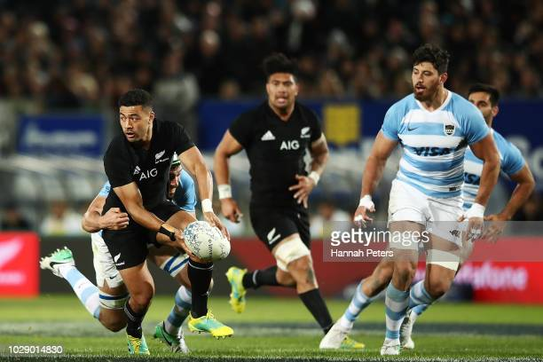 Richie Mo'unga of the New Zealand All Blacks charges forward during The Rugby Championship match between the New Zealand All Blacks and Argentina at...