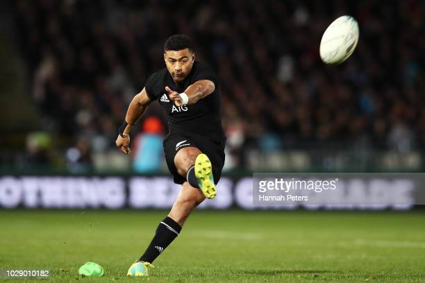 Richie Mo'unga of the New Zealand All Blacks kicks a penalty during The Rugby Championship match between the New Zealand All Blacks and Argentina at...