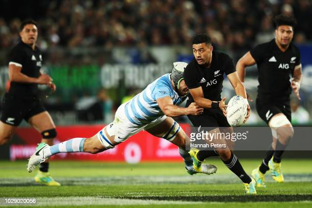 Richie Mo'unga of the New Zealand All Blacks makes a break during The Rugby Championship match between the New Zealand All Blacks and Argentina at...