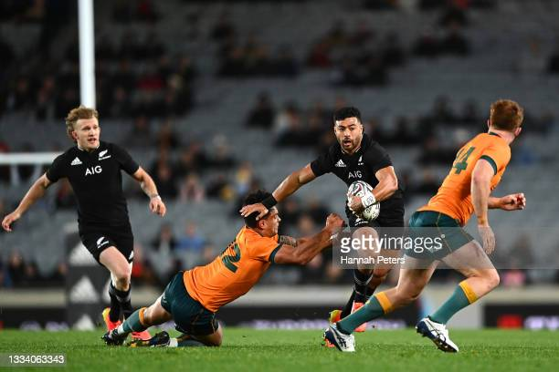 Richie Mo'unga of the New Zealand All Blacks makes a break during The Rugby Championship and Bledisloe Cup match between the New Zealand All Blacks...