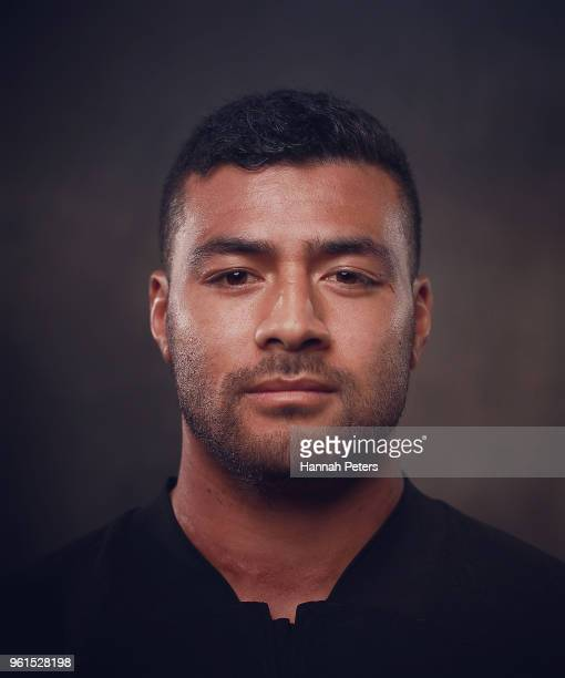 Richie Mo'unga poses during a New Zealand All Blacks portraits session on May 21 2018 in Auckland New Zealand