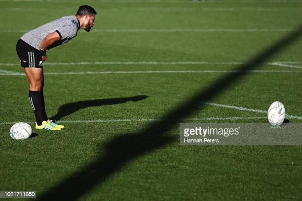 Richie Mo'unga runs through kicking drills during a New Zealand All Blacks training session on August 23 2018 in Auckland New Zealand