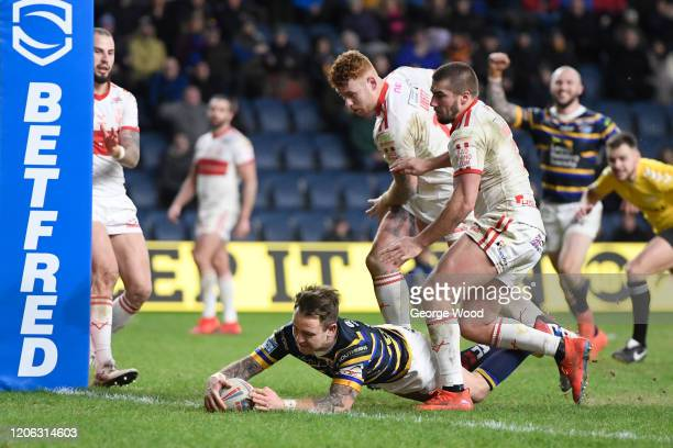 Richie Myler of Leeds Rhinos scores his sides ninth try during the Betfred Super League match between Leeds Rhinos and Hull Kingston Rovers at...