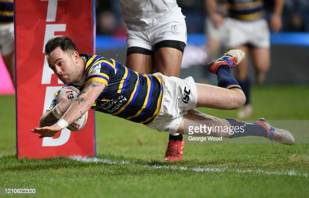 Richie Myler of Leeds Rhinos scores his sides second try during the Betfred Super League match between Leeds Rhinos and Toronto Wolfpack at Emerald...