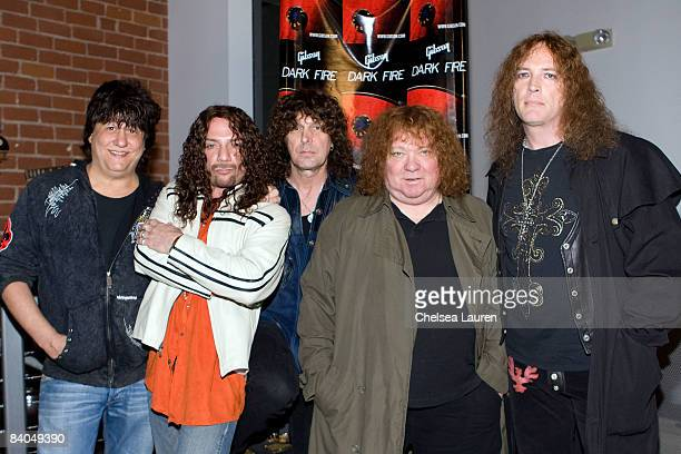 Richie Onori Joe Retta Stuart Smith Steve Priest and Steve Stewart of the rock band Sweet attend the Gibson Guitar 'Dark Fire' Launch Party at the...