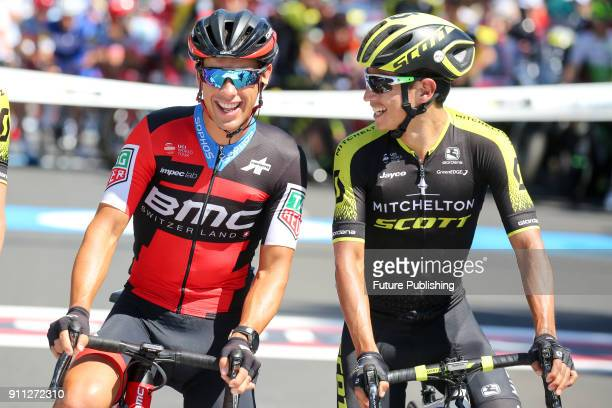 Richie Porte and Daryl Impey before the start of the 2018 Cadel Evans Great Ocean Road Race on January 28 2018 in Geelong Australia Chris Putnam /...
