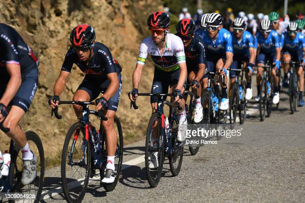 Richie Porte of Australia & Adam Yates of United Kingdom and Team INEOS Grenadiers Green Leader Jersey during the 100th Volta Ciclista a Catalunya...