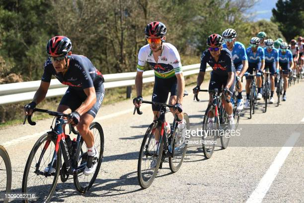 Richie Porte of Australia, Adam Yates of United Kingdom Green Leader Jersey & Richard Carapaz of Ecuador and Team INEOS Grenadiers during the 100th...