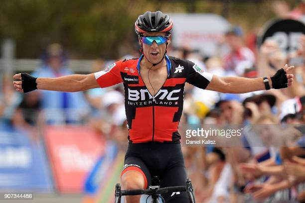 Richie Porte of Australia and BMC Racing Team celebrates after crossing the finish line to win stage five of the 2018 Tour Down Under on January 20,...