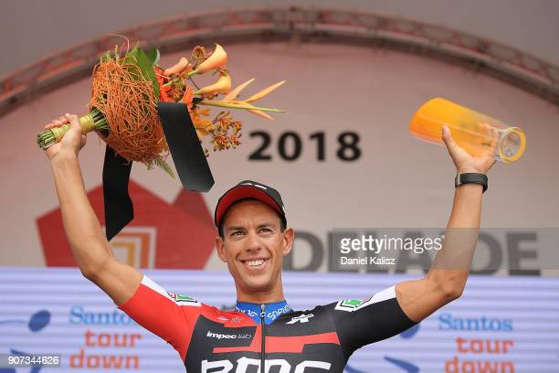Richie Porte of Australia and BMC Racing Team celebrates on the podium after winning stage five of the 2018 Tour Down Under on January 20 2018 in...