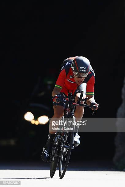 Richie Porte of Australia and BMC Racing Team during the 37km Individual Time Trial stage thirteen of Le Tour de France from BourgSaintAndeol to La...