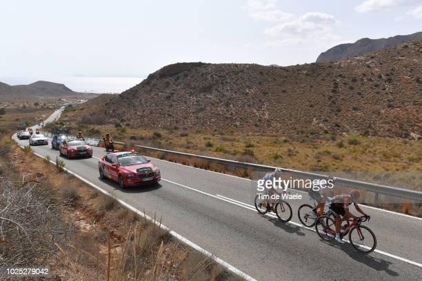 Richie Porte of Australia and BMC Racing Team / Jorge Cubero of Spain and Team Burgos -BH / Luis Angel Mate of Spain and Team Cofidis Polka Dot...