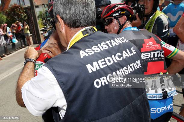 Richie Porte of Australia and BMC Racing Team / Simon Gerrans of Australia and BMC Racing Team / Crash / Injury / Doctor / Medical / Abandon / Broken...