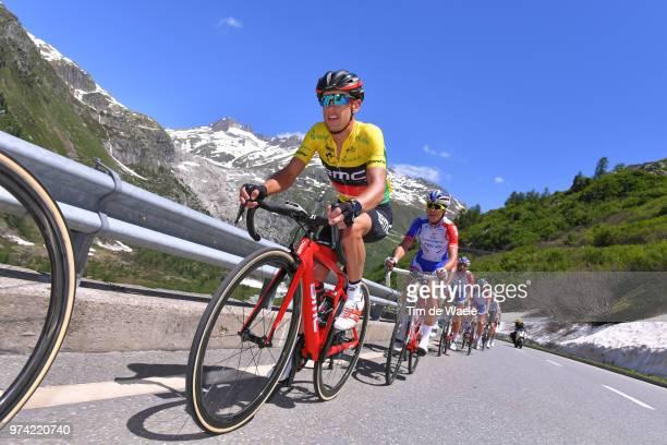 Richie Porte of Australia and BMC Racing Team Yellow Leader Jersey / Furkapass / Peloton / Mountains / Snow / during the 82nd Tour of Switzerland...