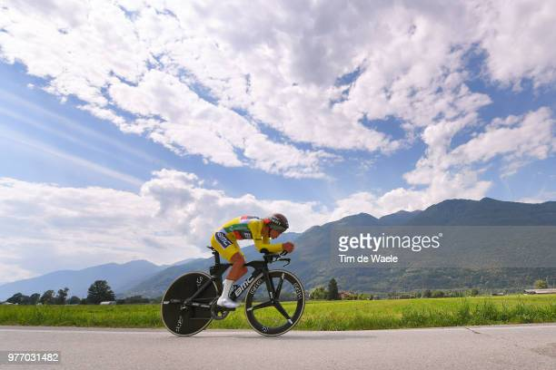 Richie Porte of Australia and BMC Racing Team Yellow Leader Jersey / during the 82nd Tour of Switzerland 2018 Stage 9 a 341km individual time trial...