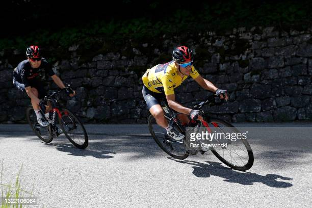 Richie Porte of Australia and Team INEOS Grenadiers yellow leader jersey during the 73rd Critérium du Dauphiné 2021, Stage 8 a 147km stage from La...