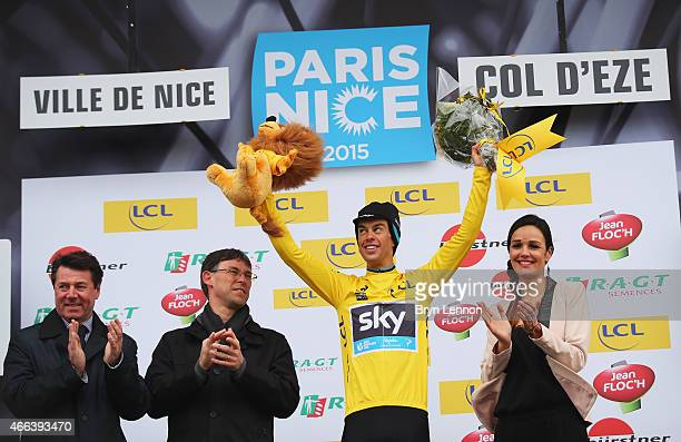 Richie Porte of Australia and Team SKY celebrates winning the Paris Nice cycling race after stage seven the individual time trial between Nice and...