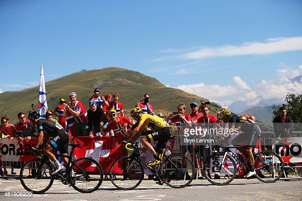Richie Porte of Australia and Team Sky Chris Froome of Great Britain and Team Sky and Alejandro Valverde of Spain and Movistar Team ride during the...