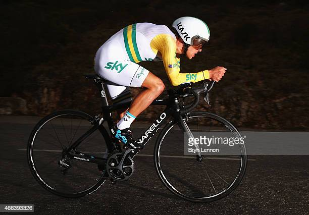 Richie Porte of Australia and Team SKY competes during stage seven, the individual time trial of the Paris - Nice cycling race between Nice and Col...