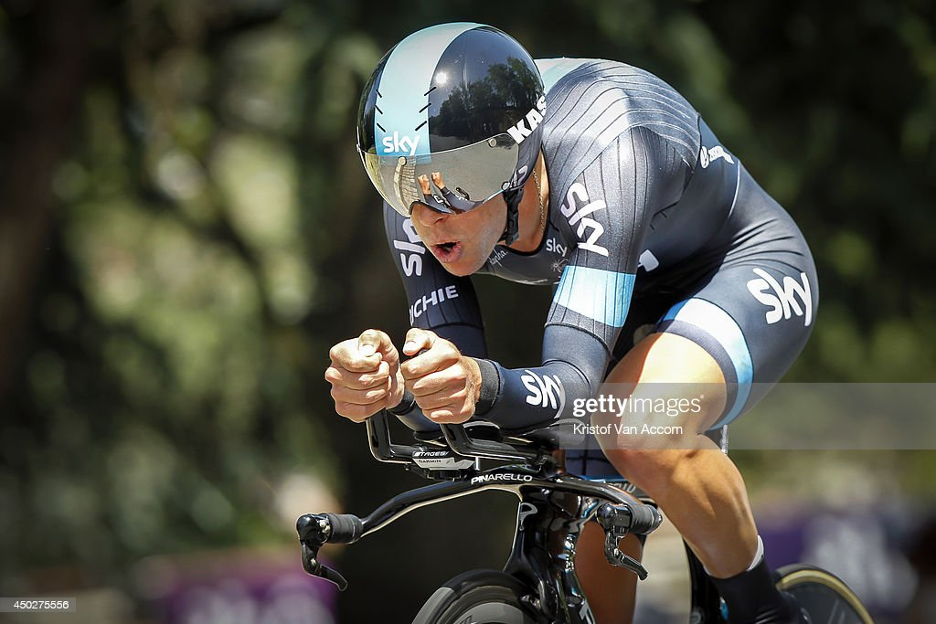 Richie Porte of Australia and Team Sky in action during the first stage, an individual time trial, of the Criterium du Dauphine, on June 8, 2014 in Lyon, France.