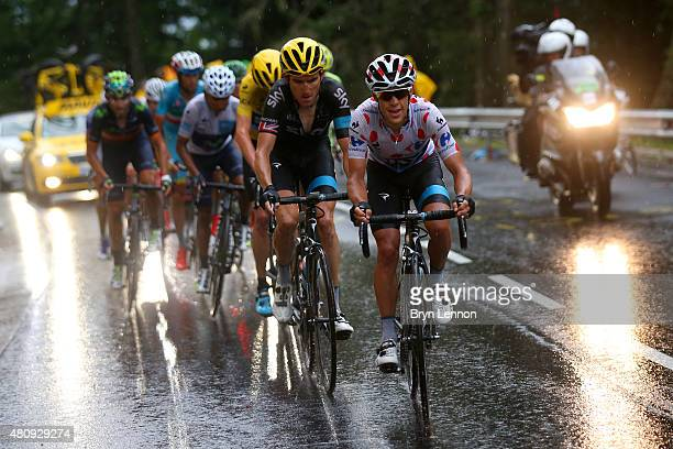 Richie Porte of Australia and Team Sky rides ahead of Geraint Thomas of Great Britain and Team Sky Chris Froome of Great Britain and Team Sky Nairo...