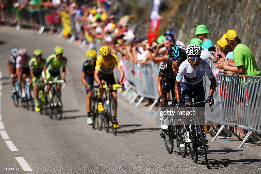 Richie Porte (2nd right) of Australia and Team Sky shadows Nairo Quintana (R) of Colombia and Movistar Team as he attacks race leader Chris Froome (centre/yellow) of Great Britain and Team Sky on the Alpe d'Huez during the twentieth stage of the 2015 Tour de France, a 110.5 km stage between Modane Valfrejus and L'Alpe d'Huez on July 25, 2015 in Modane Valfrejus, France.