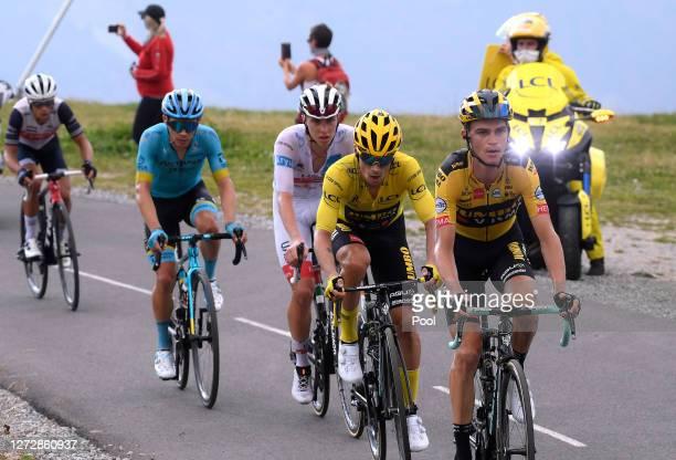 Richie Porte of Australia and Team Trek - Segafredo / Miguel Angel Lopez Moreno of Colombia and Astana Pro Team / Tadej Pogacar of Slovenia and UAE...