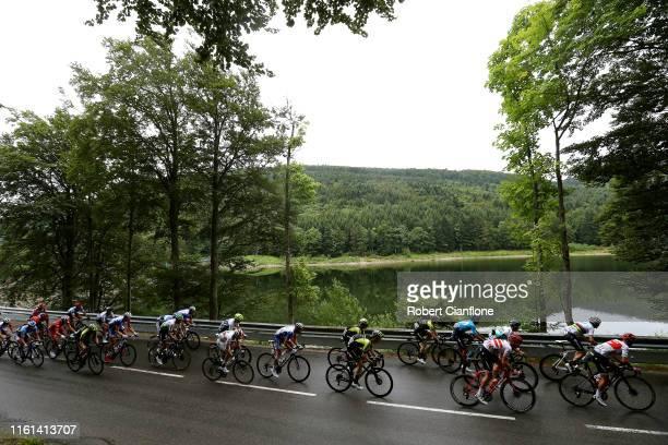 Richie Porte of Australia and Team Trek-Segafredo / Alejandro Valverde of Spain and Movistar Team / Toms Skujins of Latvia and Team Trek-Segafredo /...
