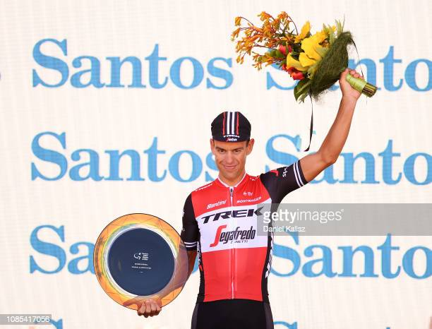 Richie Porte of Australia and Team Trek-Segafredo celebrates on the podium after winning stage 6 during the 21st Santos Tour Down Under 2019, Stage 6...