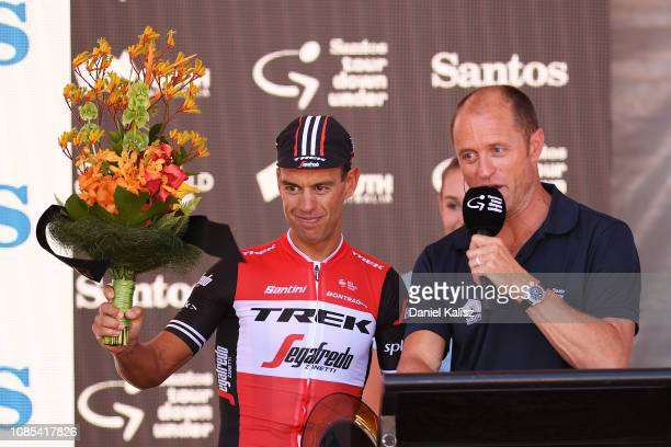 Richie Porte of Australia and Team Trek-Segafredo celebrates on the podium after winning stage 6 during the 21st Santos Tour Down Under 2019, Stage 6...